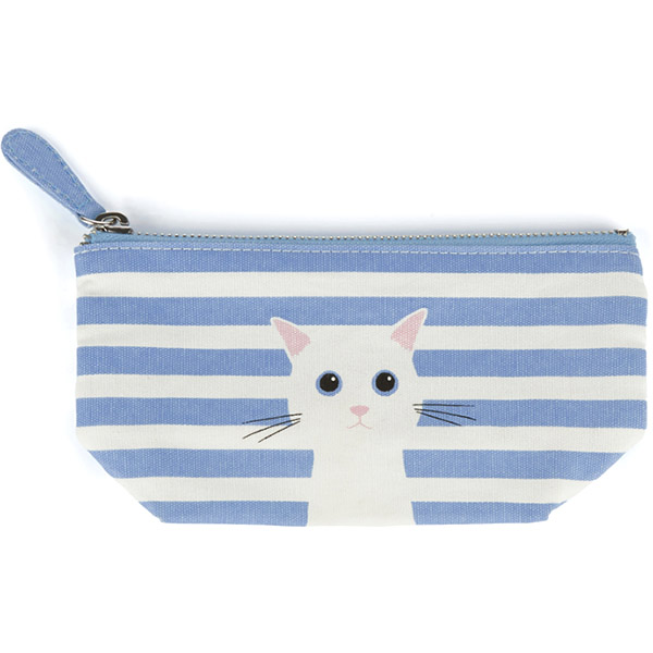 Blue Cotton Cat Small Pouch