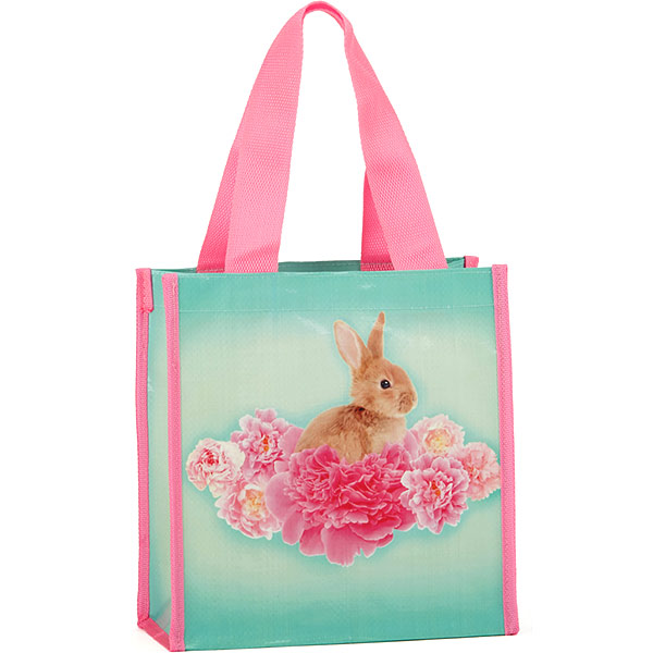 Bunny on Flowers Carry Bag