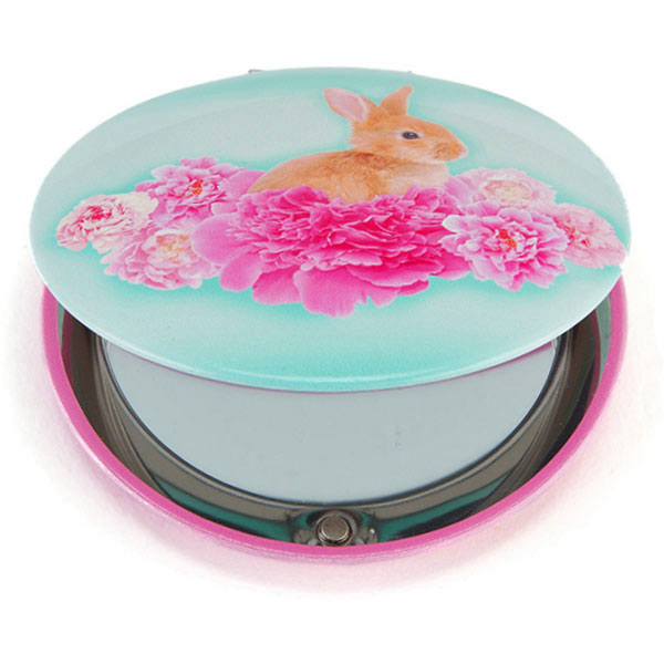 Bunny on Flowers Clam Mirror