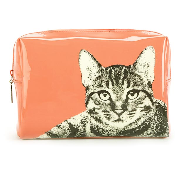 Etching Cat Large Beauty Bag
