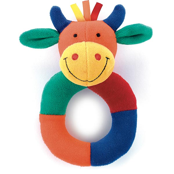 Hoopy Harlequin Cow Ring Rattle