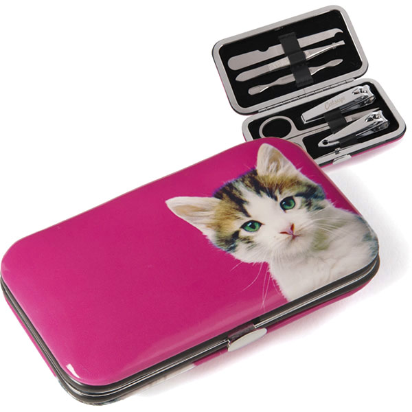 Kitten on Hot Pink Nail Care Set