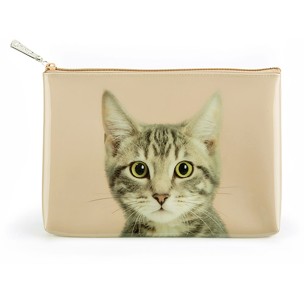 Tabby on Taupe Large Pouch