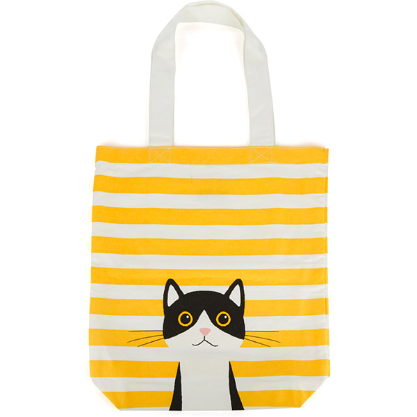 Yellow Cotton Cat Tote Bag