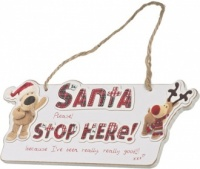 Santa Stop Here Plaque