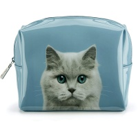 Cat on Blue Large Beauty Bag