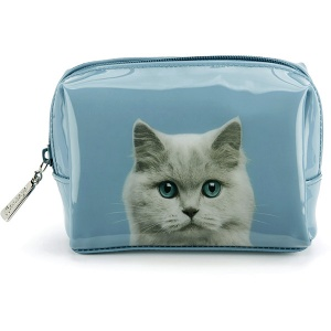 Cat on Blue Beauty Bag