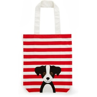 Red Cotton Dog Tote Bag