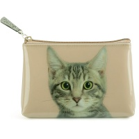 Tabby on Taupe Pouch