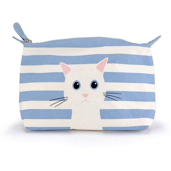 Blue Cotton Cat Wash Bag