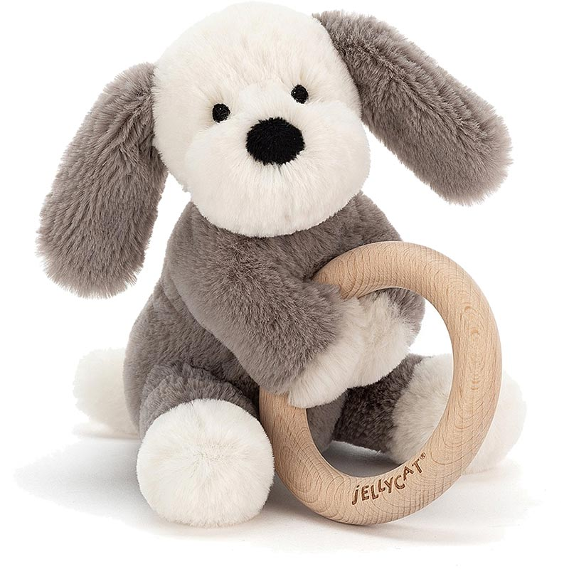 Shooshu Puppy Wooden Teething Ring & Rattle
