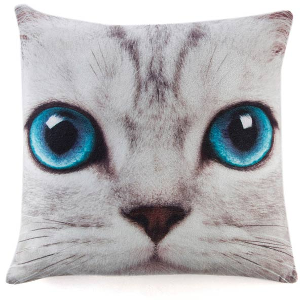 Silver Kitty Cushion