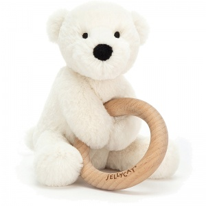 Shooshu Perry Polar Bear Wooden Teething Ring & Rattle