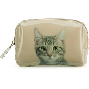 Tabby on Taupe Beauty Bag