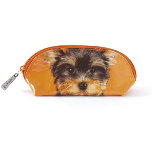 Yorkie on Orange Oval Bag